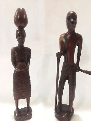 """AFRICAN Man and Woman Hand Carved Wood 7 1/2"""""""