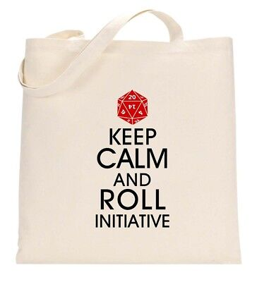 Keep Calm and Roll Initiative Funny Geek Nerd Eco Tote Bag Shopping