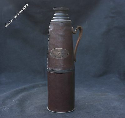 1915 Collect Chinese Old Bronze Leather London Monocular telescope Sculpture