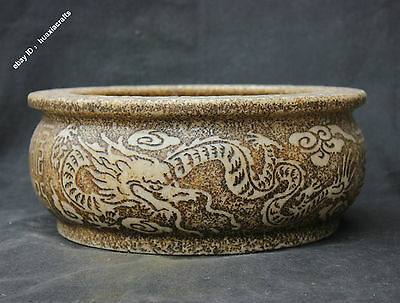 "14"" Collect Chinese Old Jade Hand-carved Dragon Pot Jar Jug container Sculpture"