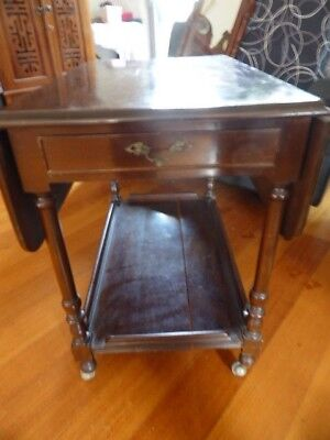 REDUCED ANTIQUE CARD OR HALL TABLE 1950s WITH DRAWER &  BOTTOM SHELF ON CASTERS