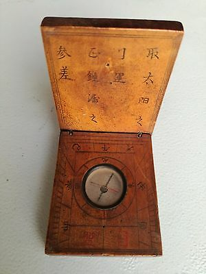 RARE certified Antique 1850 chinese precious wood sundial compass sun dial clock