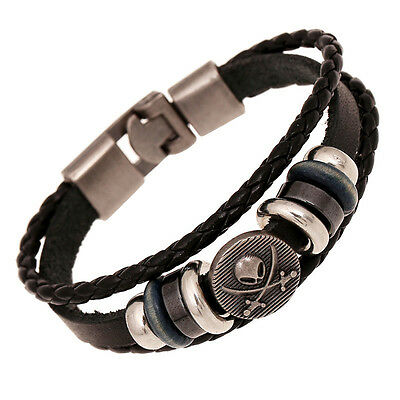 Cool Leather Bracelet Pirate Style Bangle Vintage Cuff Wristband Rock Punk  EB4