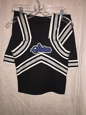 Dance Poms Cheer Halloween Black Blue Silver Costume XL (Storm) 3 Piece