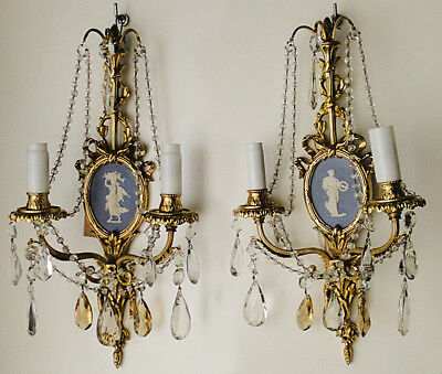 Antique French  Louis XV style wood pair of sconces