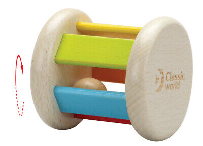 Roller Rattle by Classic World | Kids Baby Childrens First Rattle Wooden NEW
