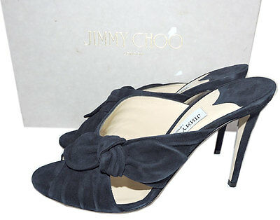 8be86fea01b12 JIMMY CHOO NAVY Suede Keely Slide Mules 39.5 Sandal Bow Knot Shoes ...