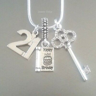 21st Birthday Card Gift Crystal Key 21 Sterling Silver Necklace with Gift Bag