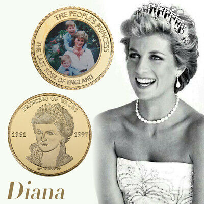 WR Princess Diana 1961-1997 Gold Foil Colored Coin Anniversary Souvenir Gifts