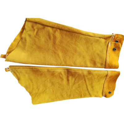 A Pair of Yellow Split Leather Welding Sleeves Protective Heat Arm Sleeve