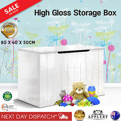 New Wooden Storage Bedroom Playroom Toy Box High Gloss Chest Blanket Containers