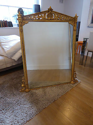 Stunning Gilded Frame Overmantel Antique Mirror, original glass