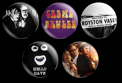 League Of Gentlemen 5 Badge Set Royston Vasey Are You Local Creme Brulee Comedy