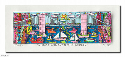 "Original James Rizzi 3 D Bild "" UNDER AND OVER THE BRIDGE "" NEU  Zertifikat"