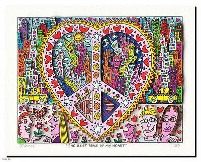 "Original  James Rizzi 3 D Bild "" THE BEST PEACE OF MY HEART "" NEU Zertifikat"