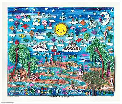 "XL Original James Rizzi 3 D Bild ""Let´s take a trip to the tropics"" Zertifikat"