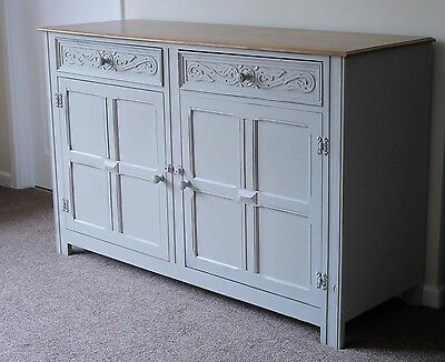 Painted Grey Antique Sideboard Shabby Chic Solid Wood Farmhouse Cottage Vintage