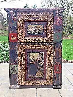Antique 16th 17th C Hand Painted Painting Renaissance Wood 2 Door Cabinet Shelf