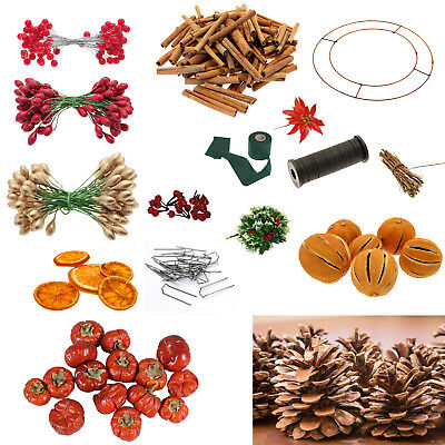 Christmas Wreath Making,Wire Wreath Rings,Cinnamon Sticks,Craft,Floristry Items