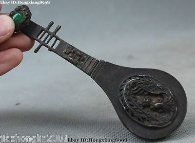Rare old style brass carved lute the Phoenix lock and key