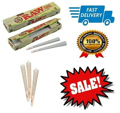 Classic RAW Organic Unrefined Pre Rolled Cone 32 Pack King Size Filter Paper Tip