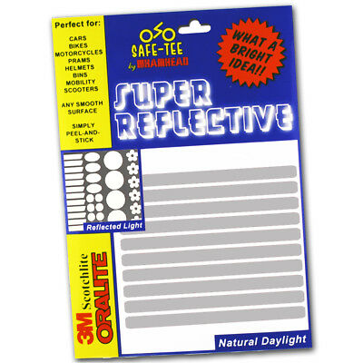 SILVER / WHITE 10x STRIPS Reflective Bike Cycle Helmet Safety Stickers