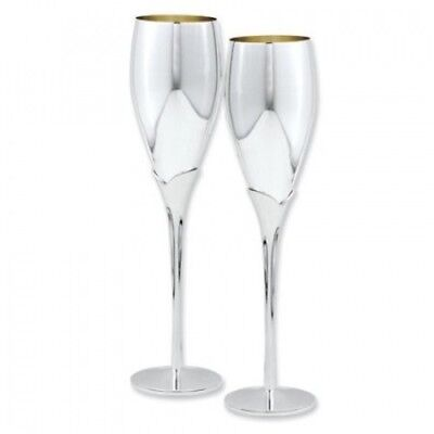 Silver-plated Pair of Champagne Flutes. Jewelry Adviser Gifts. Free Shipping