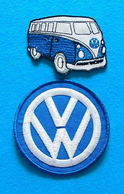 """2  VOLKSWAGEN VW AVERAGE 3."""" BUS  Embrodered Iron Or Sewn On Patches Free Ship"""