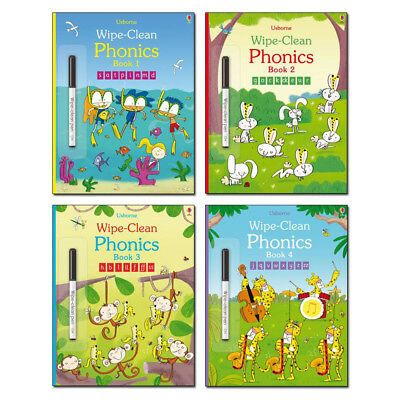 Usborne Wipe-Clean Phonics Collection Book Pack (4 books) RRP £23.96