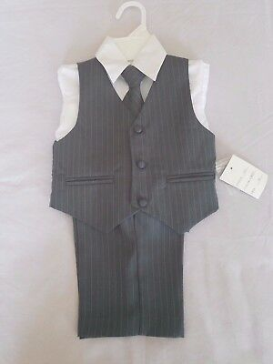 Infant Boys Gray Pinstripe Suit, (Pants, Shirt, Vest & Tie), Size 12 Months