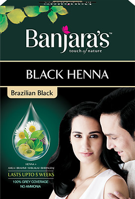 Banjara's Black Henna Brazilian Black - Rich black hair colour - No ammonia
