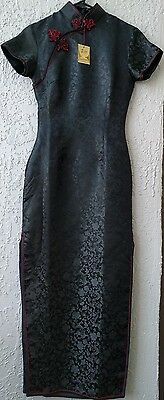 Black Silky Maxi Length Cheongsam Asian Traditional Dress size 32-Solz Squirrel