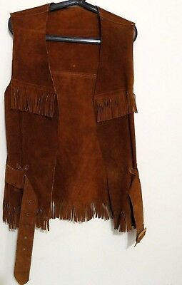 Long & Fringed Vintage 70s Leather Suede Vest Top with Belt Medium USA Made M