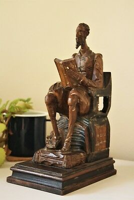 Hand Carved Antique Don Quixote Wooden Bookend - Spanish style, Vintage