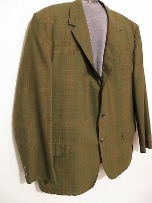 Mens Vintage Coat Blazer Jacket in Plaid Green from Sears Robuck Sz 44 USA Made