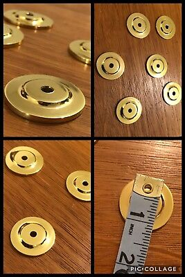 6 BACK PLATES for Knobs Round Bright Brass Tone Drawer Bin Cabinet Heavy Vintage