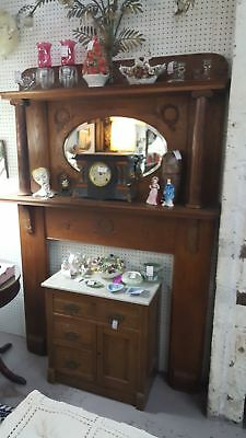 Antique Oak Large Fireplace Mantle With Beveled Mirror