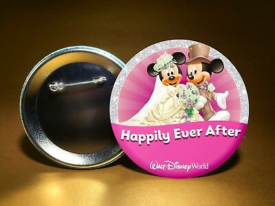 """HAPPILY EVER AFTER-w/ Disney Mickey Minnie-WDW or DL-3"""" PINBACK BUTTON-FREE SHIP"""