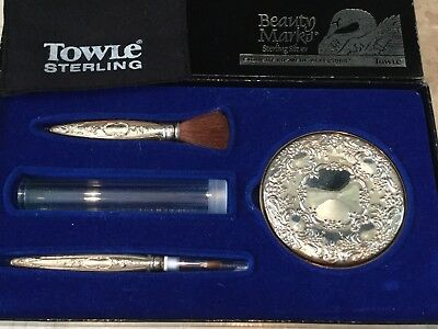 Towle Beauty Marks Sterling Silver Makeup Kit with box