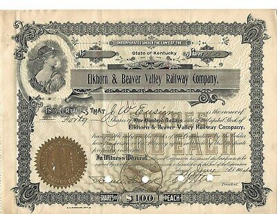 Elkhorn & Beaver Valley Railway Co. No. 7 Stock Certificate