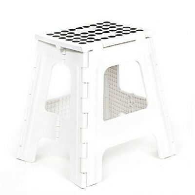 White Folding Step Stool Closet Bathroom Travel Seat Side Sofa Table Lightweight