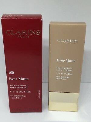 Clarins Ever Matte Skin Balancing Foundation 30ml Choice of Shades New with Box