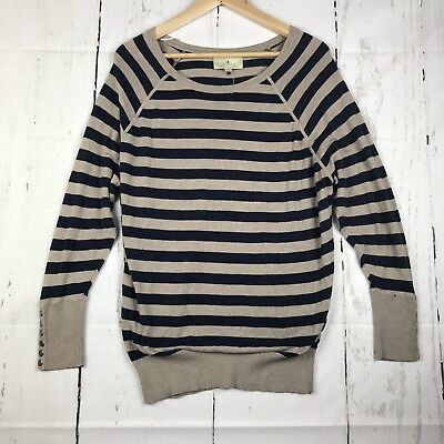 00719611eb RUBY MOON LONG Sleeve Tunic Sweater Size Large Blue Tan Striped Top ...