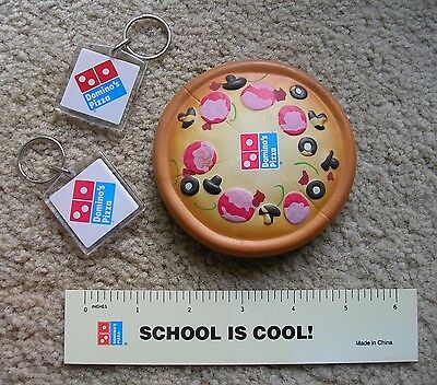 Domino's Pizza squishy Stress Reliever, Key Ring Fob, Ruler   collector's items