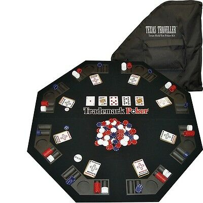 Texas Holdem Table Top Portable Poker Set Cards Chips Folding Topper Casino Felt