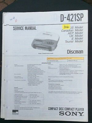 Sony D-421SP CD Player Service Manual.