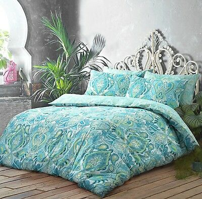 (King) - New Moroccan Paisley Aqua Reversible Duvet Quilt Cover Set +
