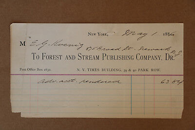 1886 Letterhead Bill from Forest and Stream Publishing for Advertising Charges