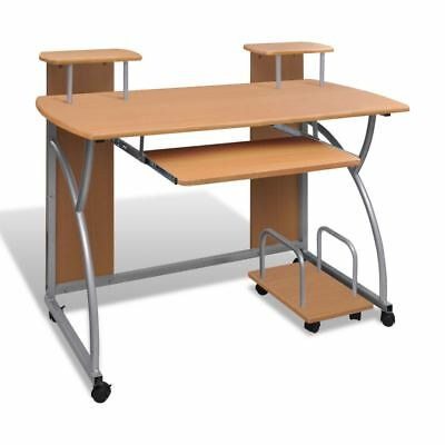 Mobile Compact Corner Computer Cart Desk Laptop Table with Keyboard Tray Brown