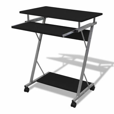 Mobile Compact Computer Cart Desk Laptop Table  with Keyboard Tray Wooden Black